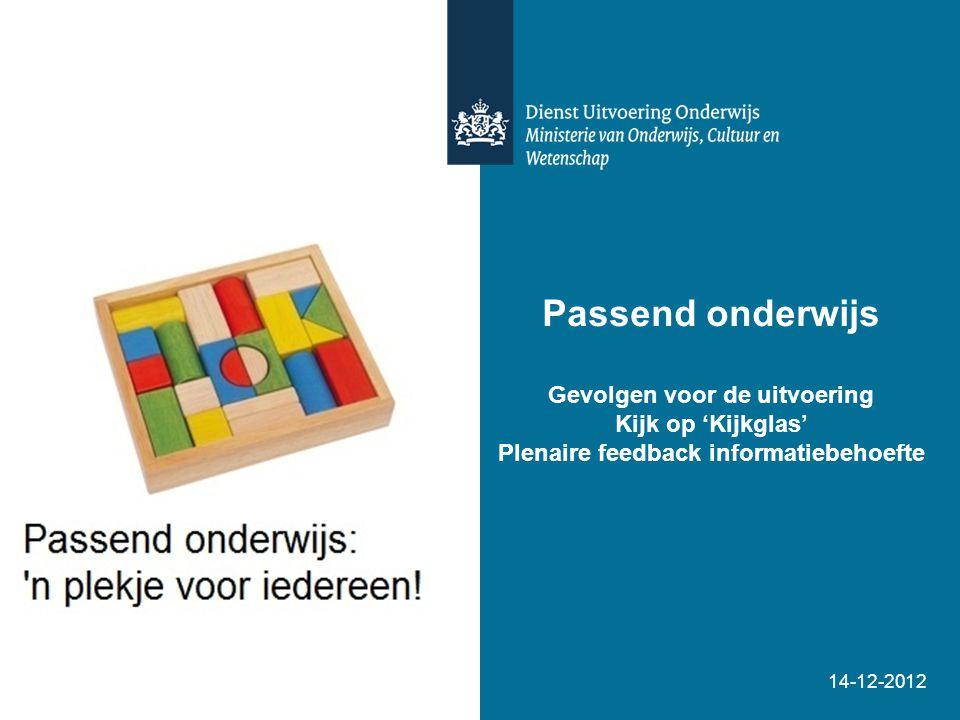 Passend onderwijs Gevolgen voor de uitvoering Kijk op 'Kijkglas' Plenaire feedback informatiebehoefte