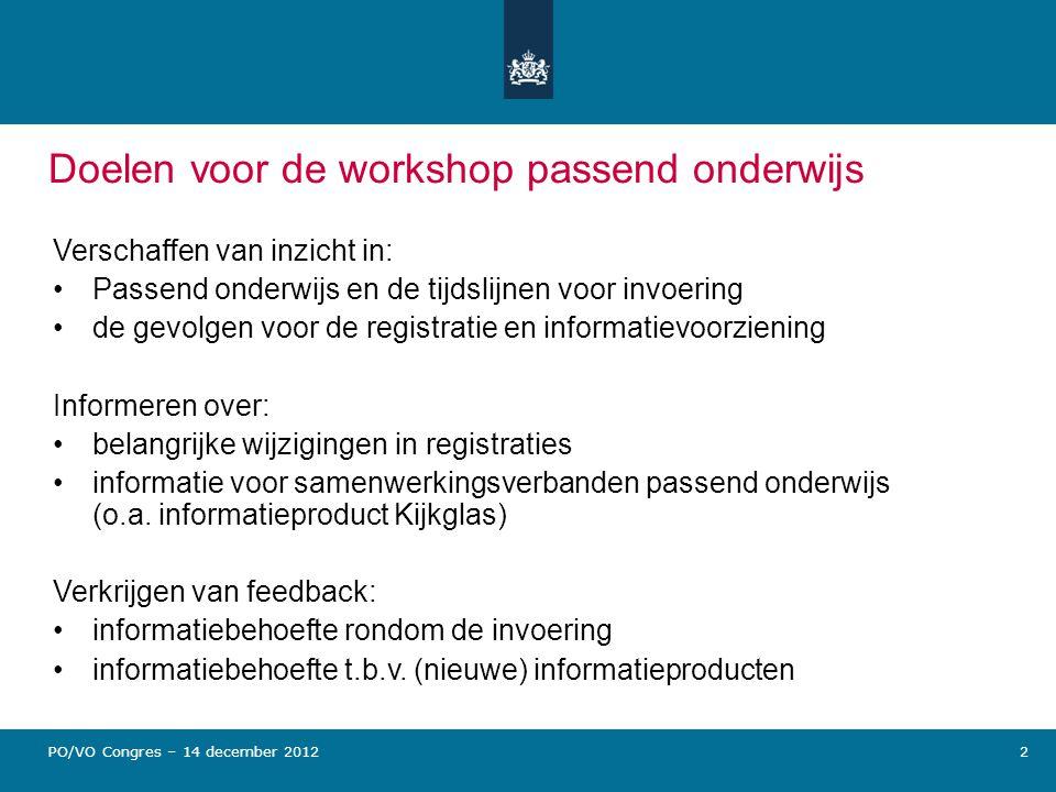 Doelen voor de workshop passend onderwijs