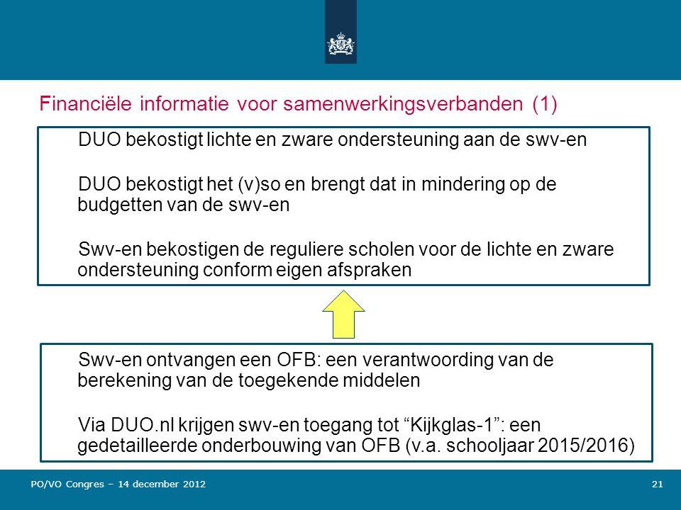 Financiële informatie voor samenwerkingsverbanden (1)