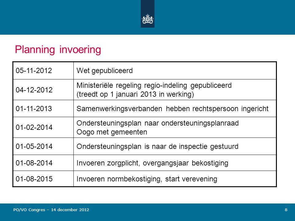 Planning invoering 05-11-2012 Wet gepubliceerd 04-12-2012