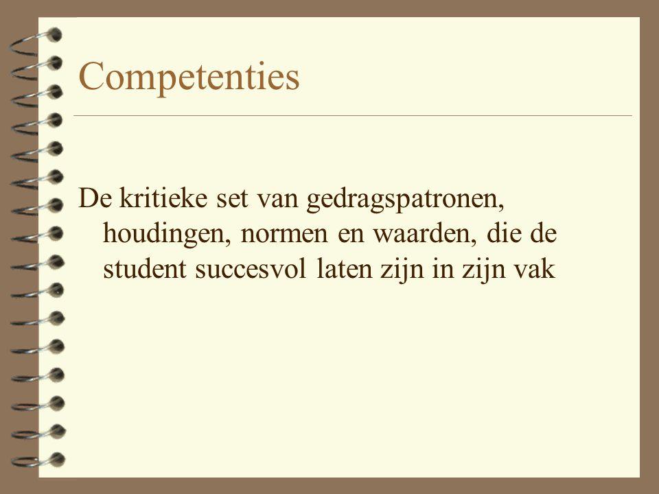 Competenties De kritieke set van gedragspatronen, houdingen, normen en waarden, die de student succesvol laten zijn in zijn vak.