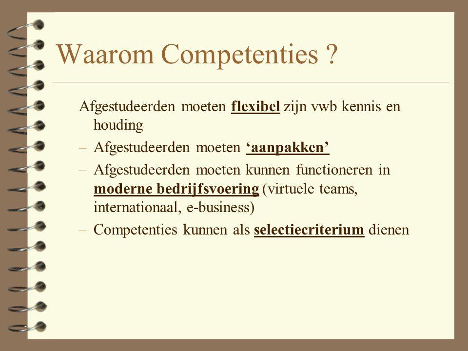 Waarom Competenties Afgestudeerden moeten flexibel zijn vwb kennis en houding. Afgestudeerden moeten 'aanpakken'