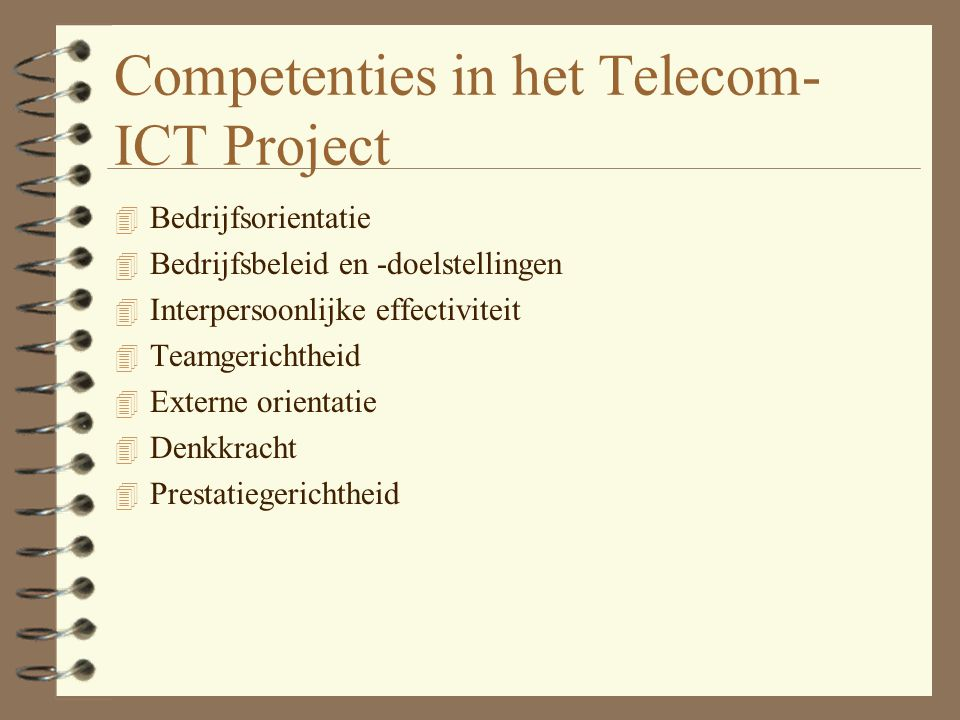 Competenties in het Telecom-ICT Project