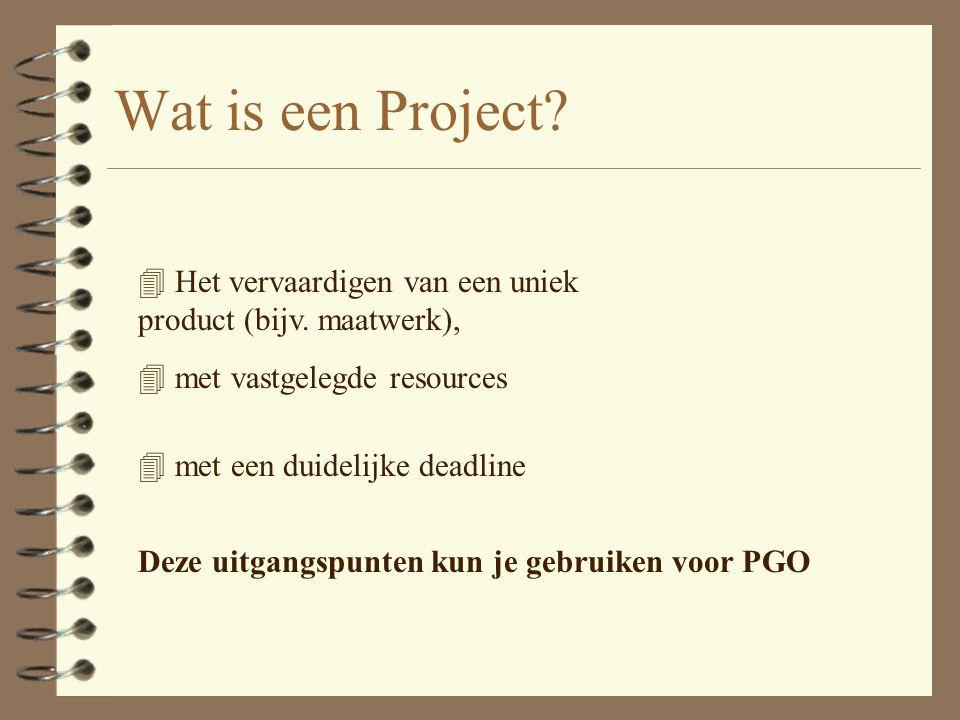 Wat is een Project Het vervaardigen van een uniek product (bijv. maatwerk), met vastgelegde resources.