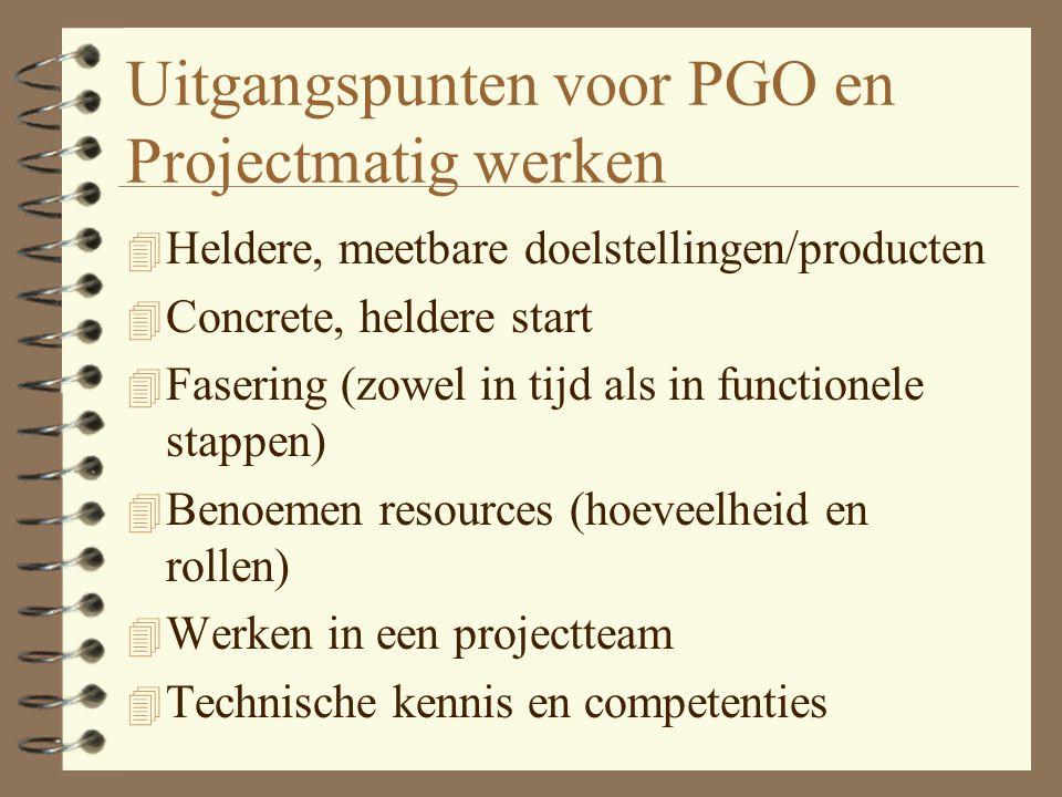 Uitgangspunten voor PGO en Projectmatig werken