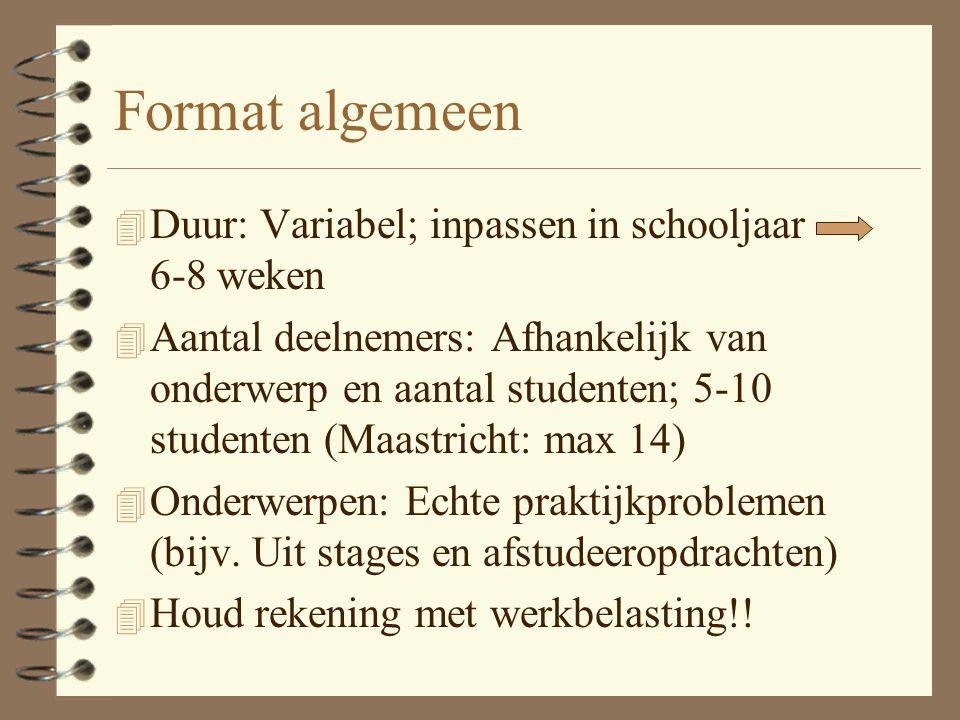 Format algemeen Duur: Variabel; inpassen in schooljaar 6-8 weken