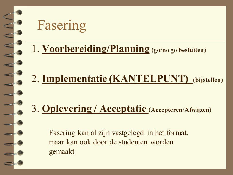 Fasering 1. Voorbereiding/Planning (go/no go besluiten)