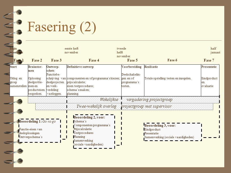 Fasering (2) Wekelijkse vergadering projectgroep