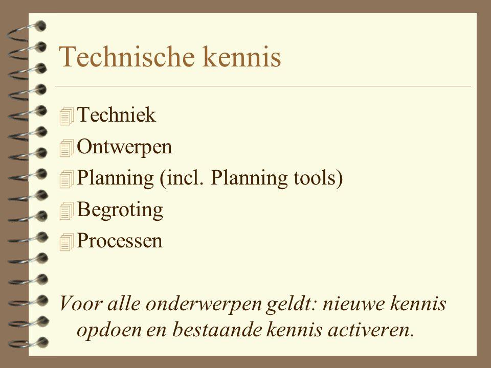 Technische kennis Techniek Ontwerpen Planning (incl. Planning tools)