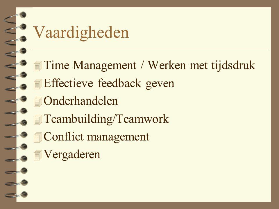 Vaardigheden Time Management / Werken met tijdsdruk