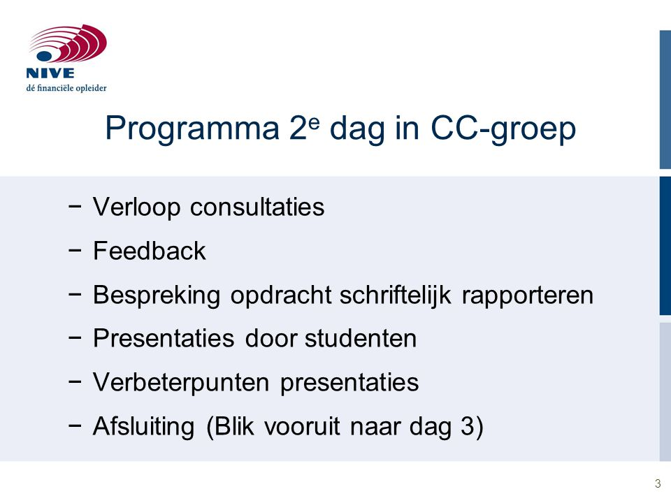 Programma 2e dag in CC-groep
