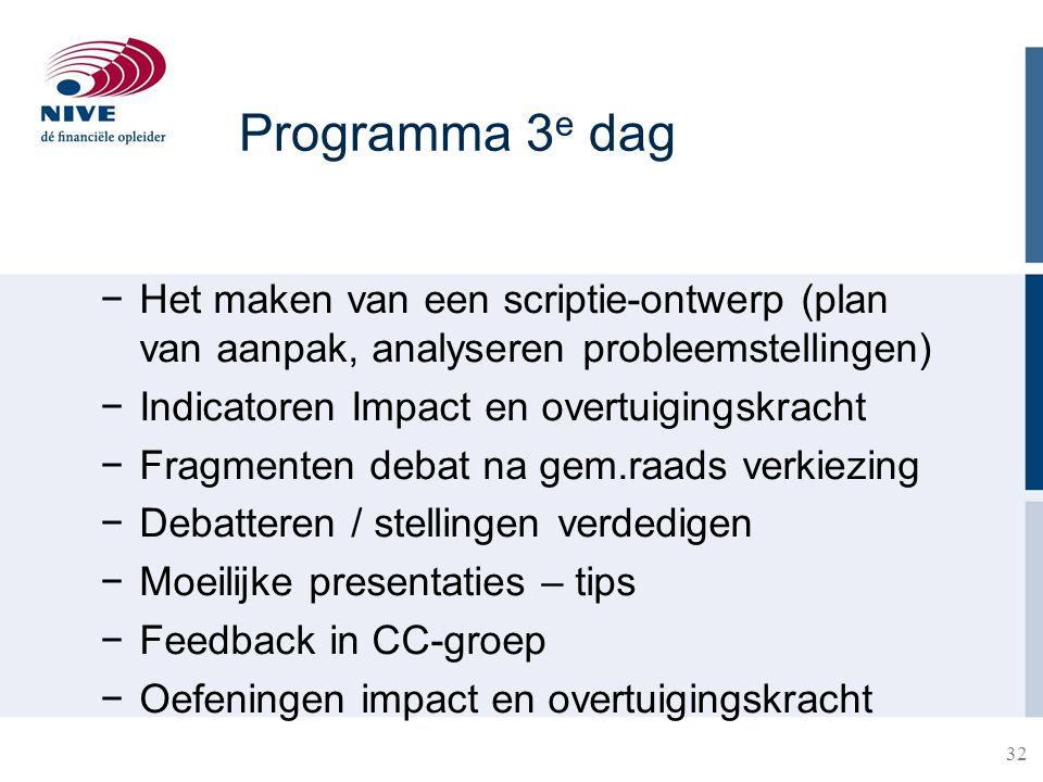 Programma 3e dag Het maken van een scriptie-ontwerp (plan van aanpak, analyseren probleemstellingen)