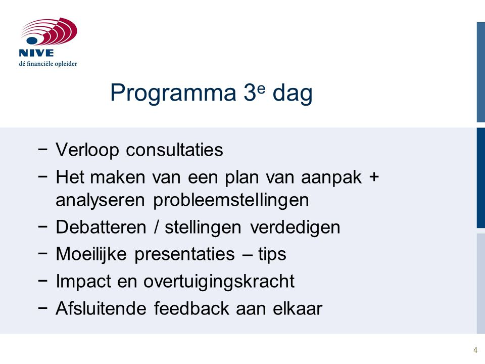 Programma 3e dag Verloop consultaties