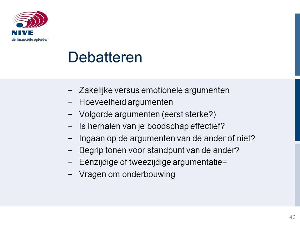 Debatteren Zakelijke versus emotionele argumenten