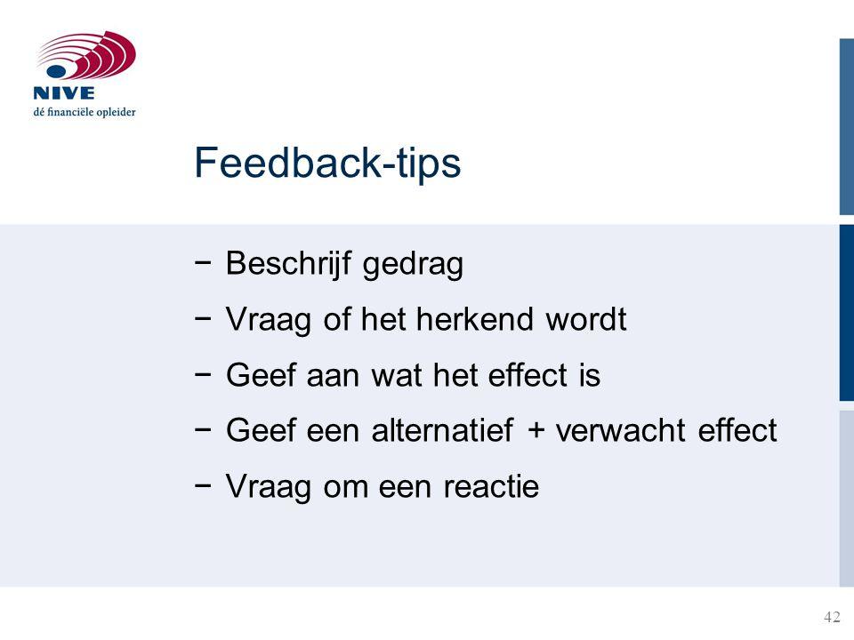 Feedback-tips Beschrijf gedrag Vraag of het herkend wordt
