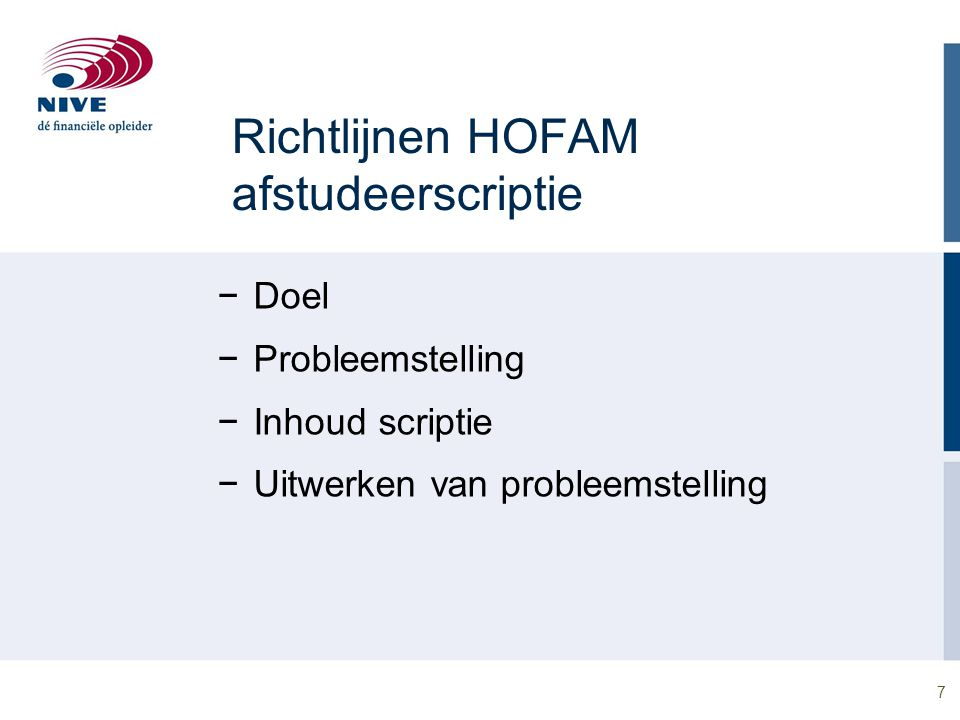 Richtlijnen HOFAM afstudeerscriptie
