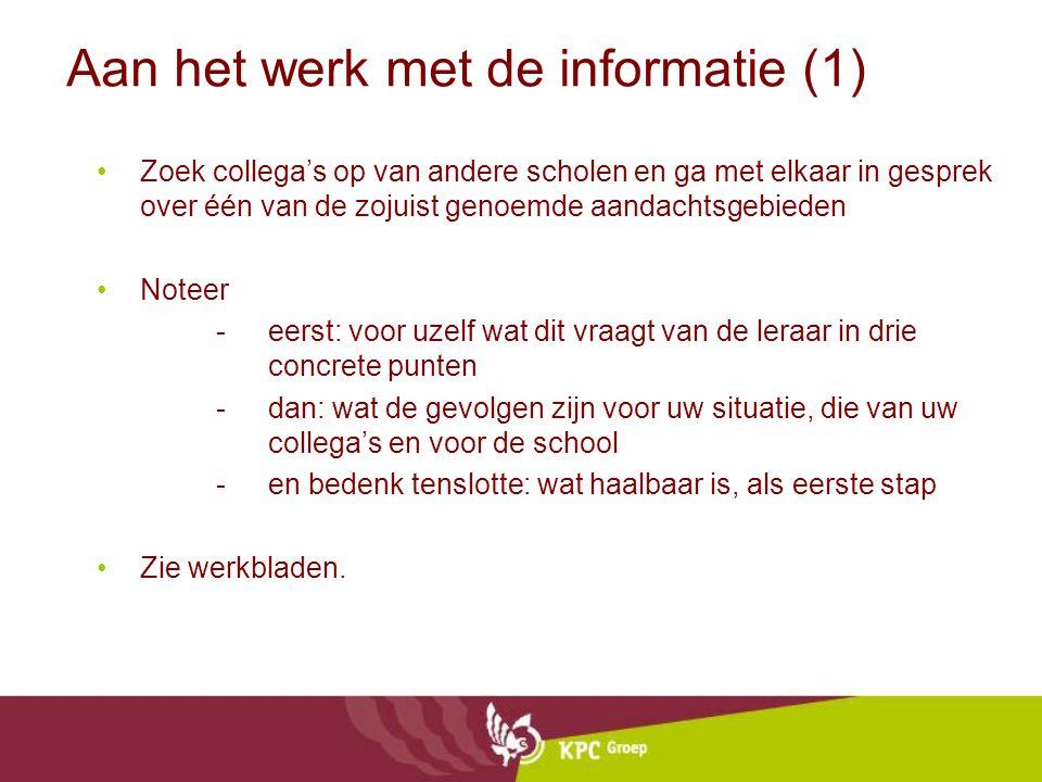 Aan het werk met de informatie (1)