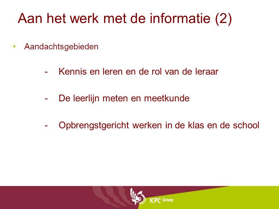 Aan het werk met de informatie (2)