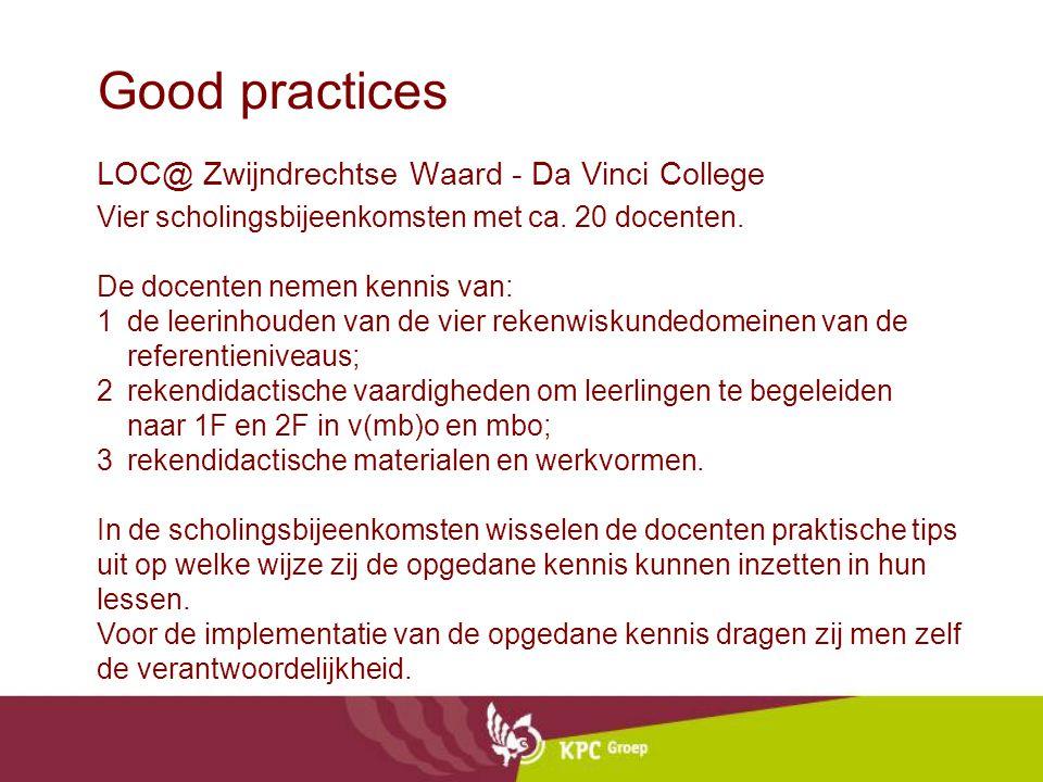 Good practices LOC@ Zwijndrechtse Waard - Da Vinci College