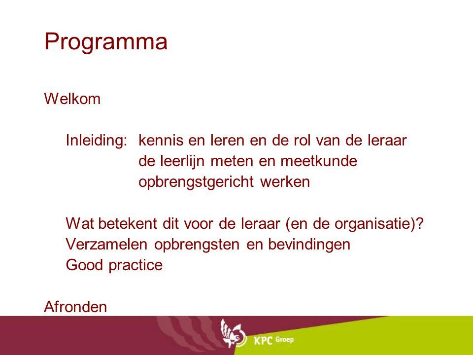 Programma Welkom Inleiding: kennis en leren en de rol van de leraar