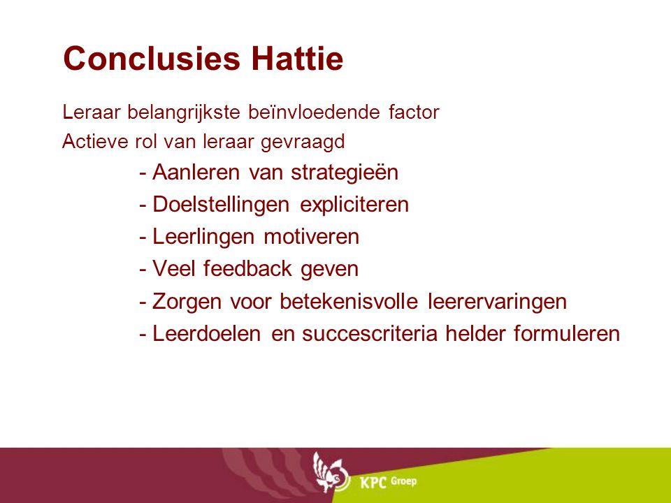 Conclusies Hattie - Aanleren van strategieën