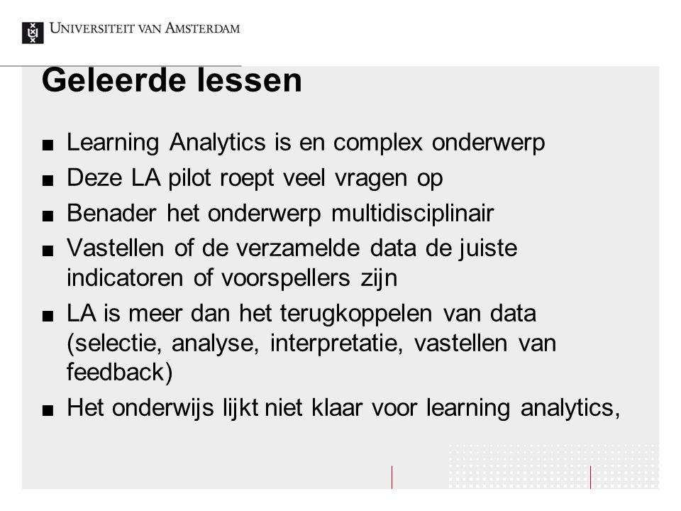 Geleerde lessen Learning Analytics is en complex onderwerp