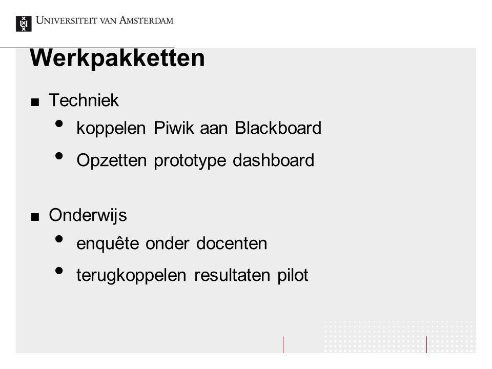 Werkpakketten Techniek koppelen Piwik aan Blackboard