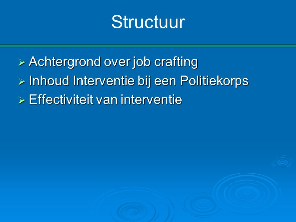 Structuur Achtergrond over job crafting