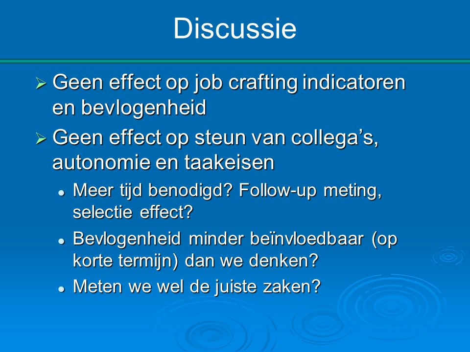 Discussie Geen effect op job crafting indicatoren en bevlogenheid