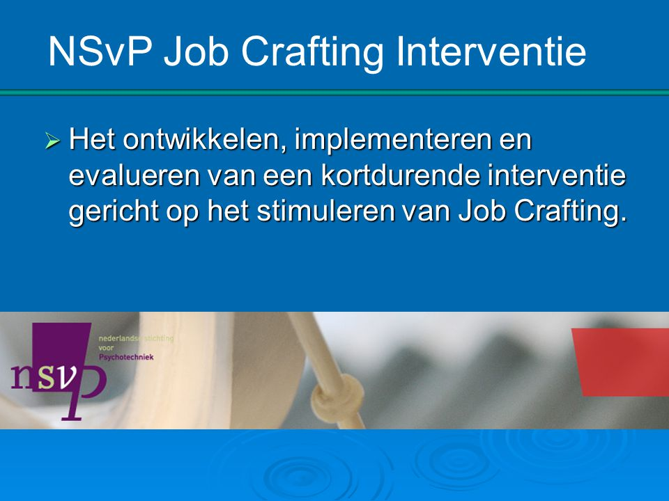 NSvP Job Crafting Interventie
