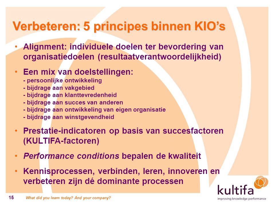 Verbeteren: 5 principes binnen KIO's