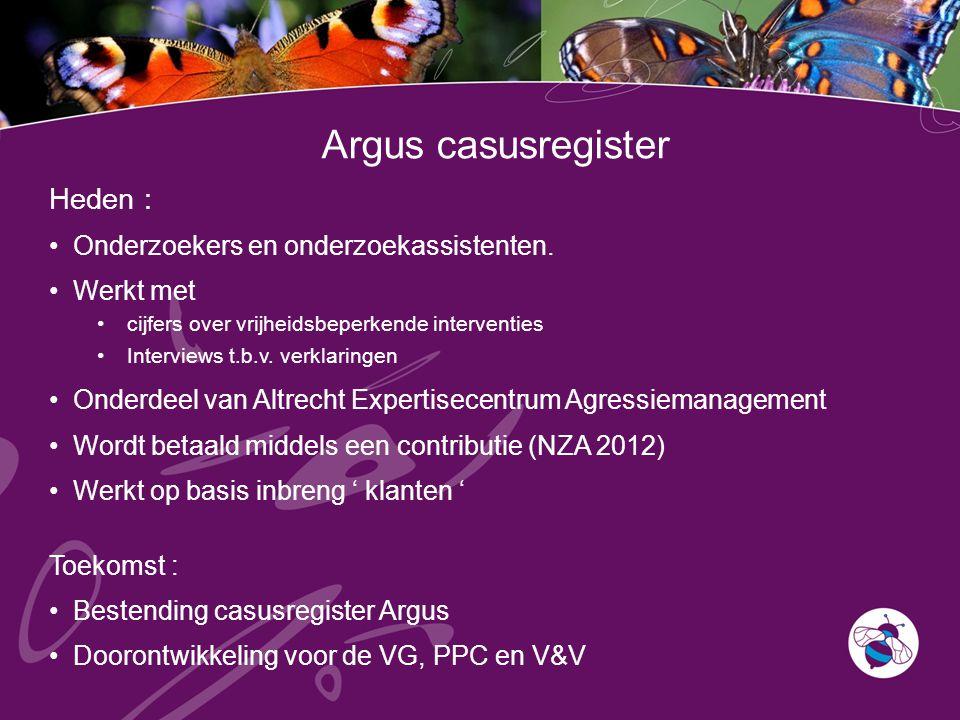 Argus casusregister Heden : Onderzoekers en onderzoekassistenten.