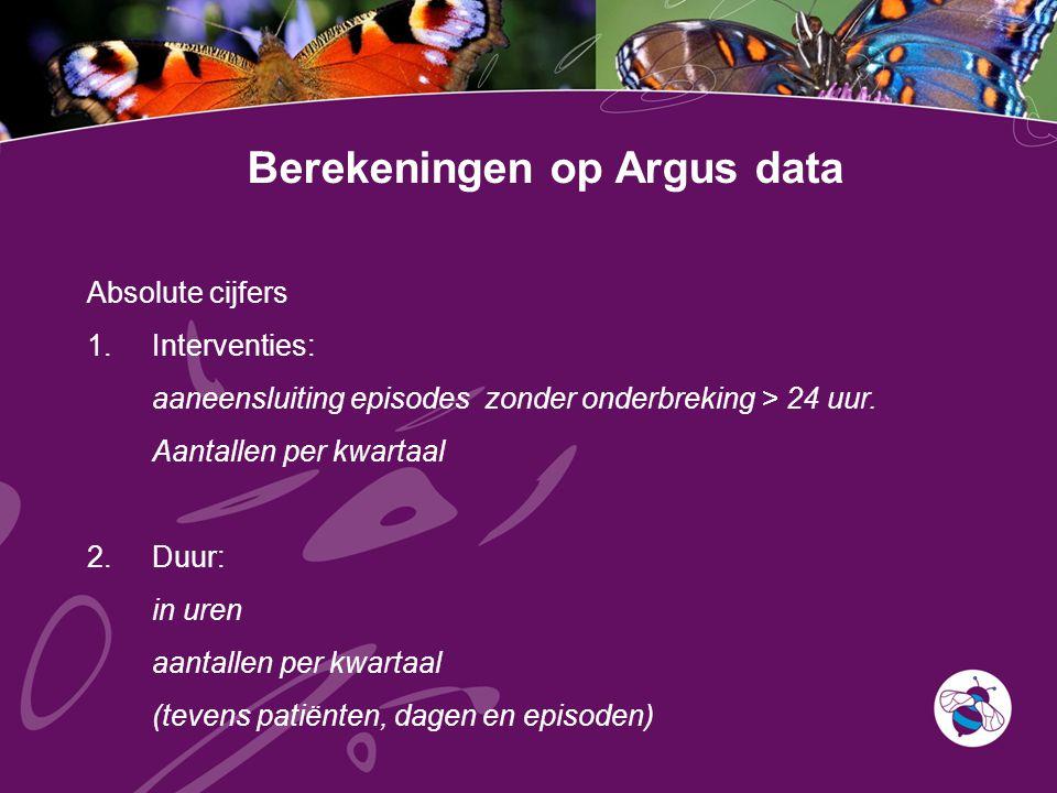 Berekeningen op Argus data