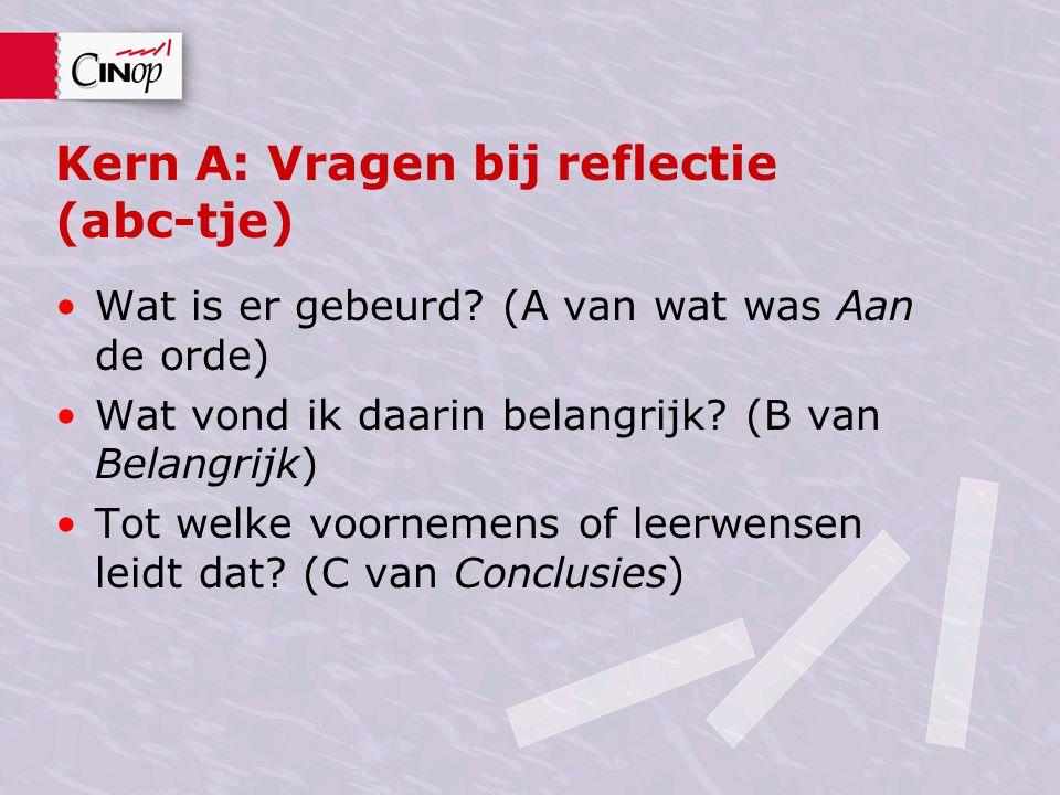 Kern A: Vragen bij reflectie (abc-tje)