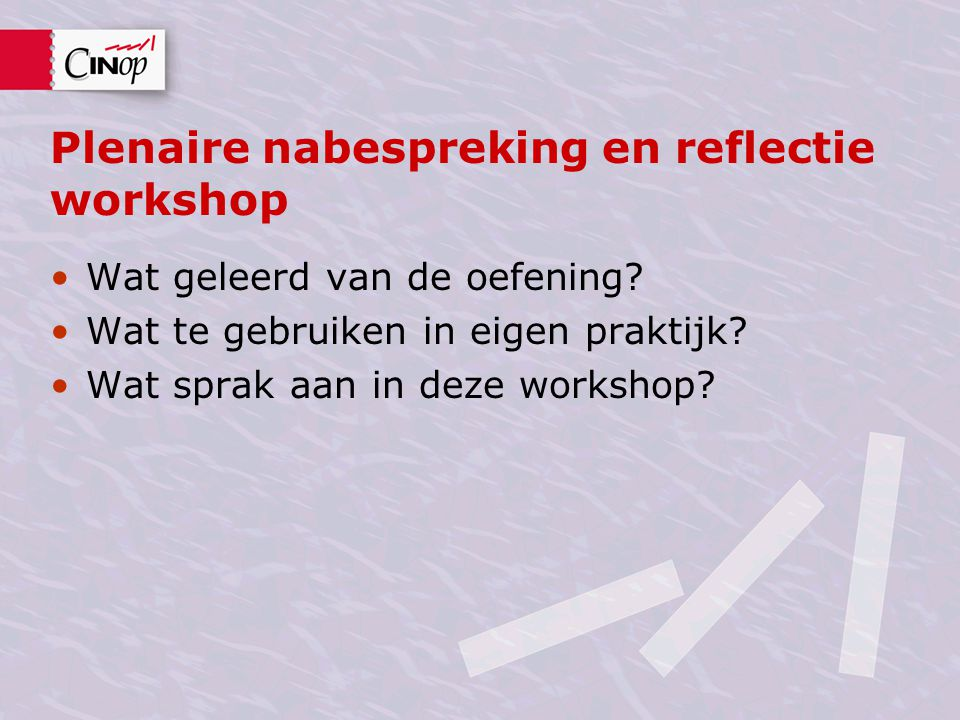 Plenaire nabespreking en reflectie workshop