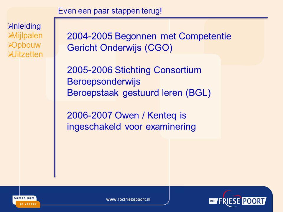 2004-2005 Begonnen met Competentie Gericht Onderwijs (CGO)