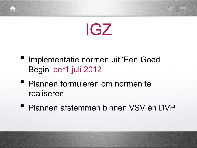 IGZ Implementatie normen uit 'Een Goed Begin' per1 juli 2012
