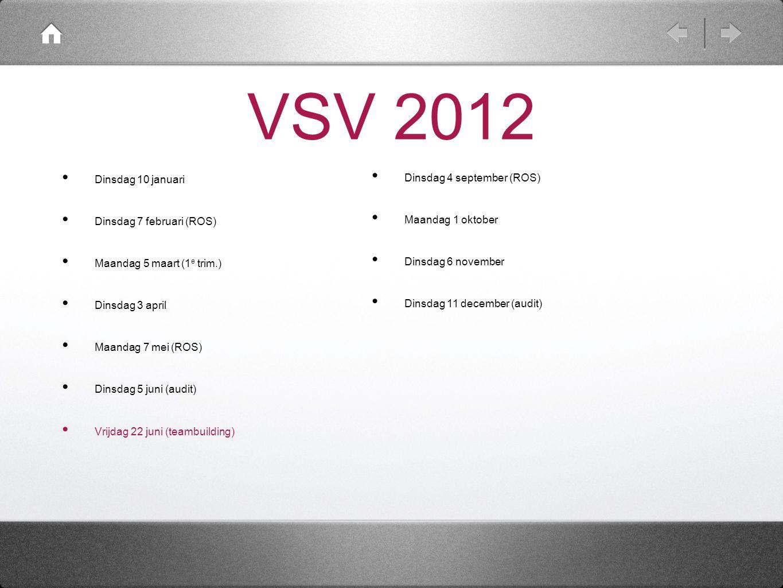 VSV 2012 Dinsdag 10 januari Dinsdag 4 september (ROS)