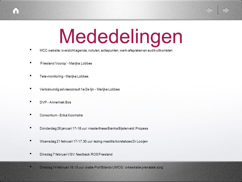 Mededelingen MCC website: overzicht agenda, notulen, actiepunten, werk-afspraken en audit-uitkomsten.