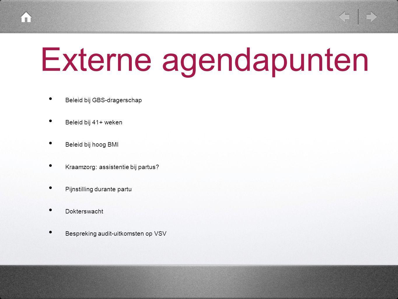 Externe agendapunten Beleid bij GBS-dragerschap. Beleid bij 41+ weken. Beleid bij hoog BMI. Kraamzorg: assistentie bij partus