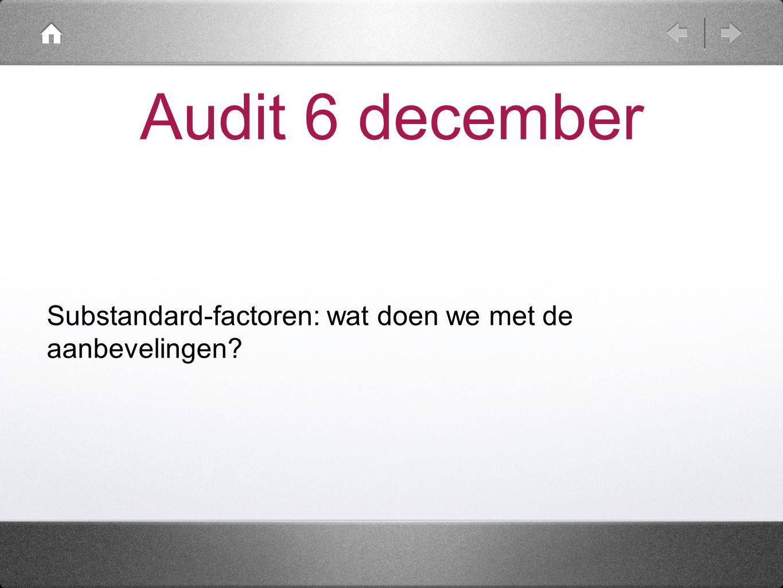Audit 6 december Substandard-factoren: wat doen we met de aanbevelingen.