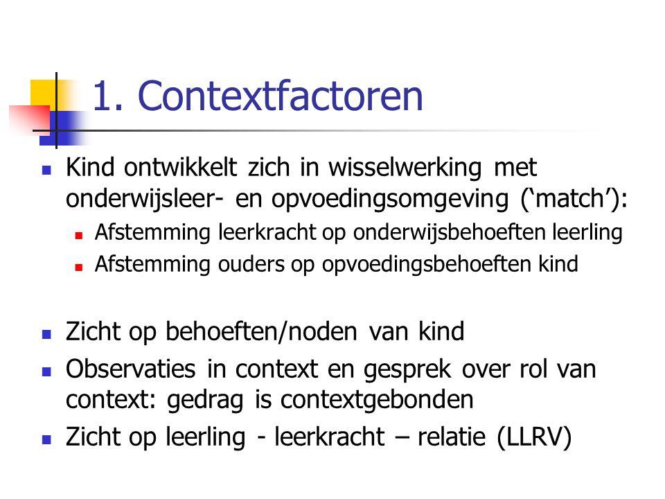 1. Contextfactoren Kind ontwikkelt zich in wisselwerking met onderwijsleer- en opvoedingsomgeving ('match'):