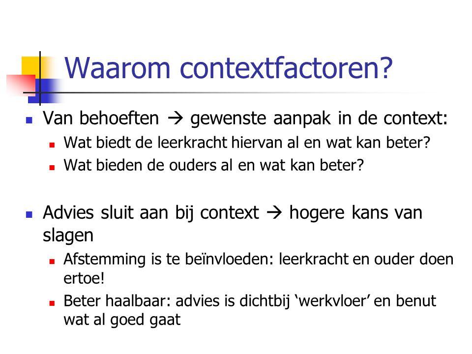 Waarom contextfactoren