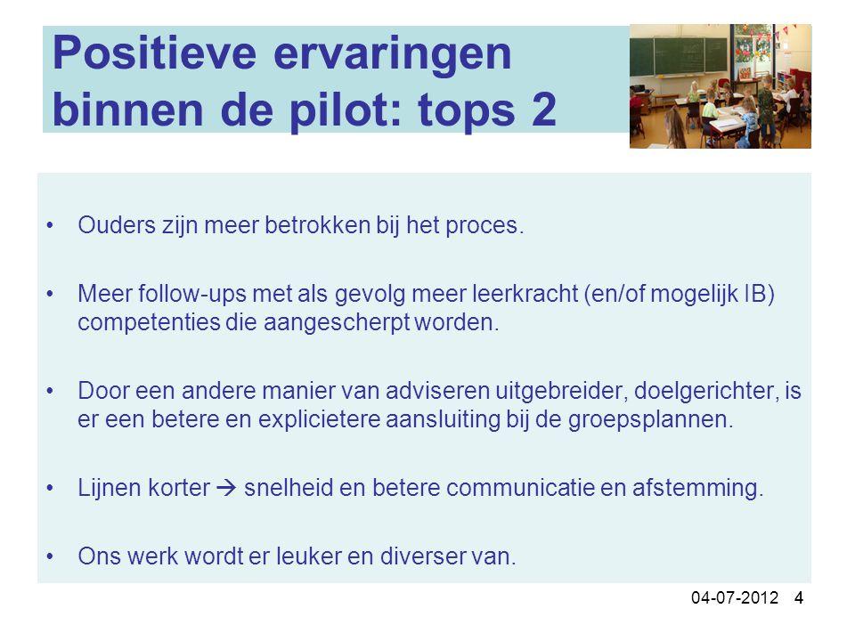 Positieve ervaringen binnen de pilot: tops 2