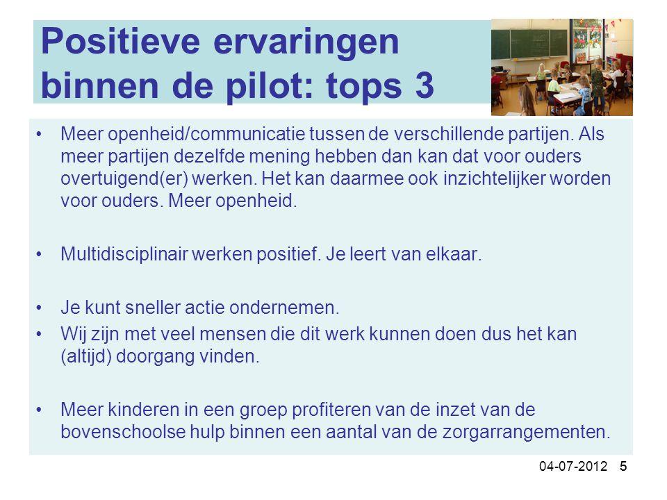 Positieve ervaringen binnen de pilot: tops 3