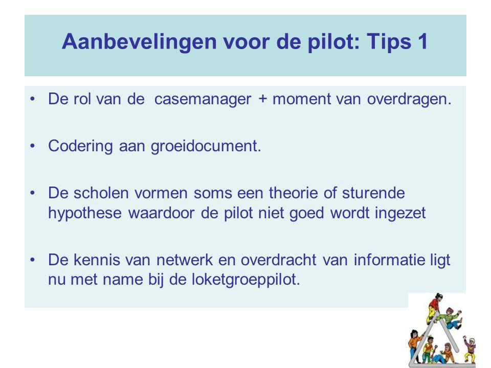 Aanbevelingen voor de pilot: Tips 1