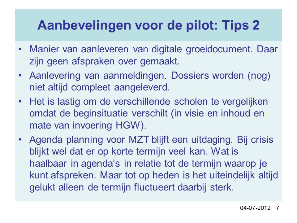 Aanbevelingen voor de pilot: Tips 2