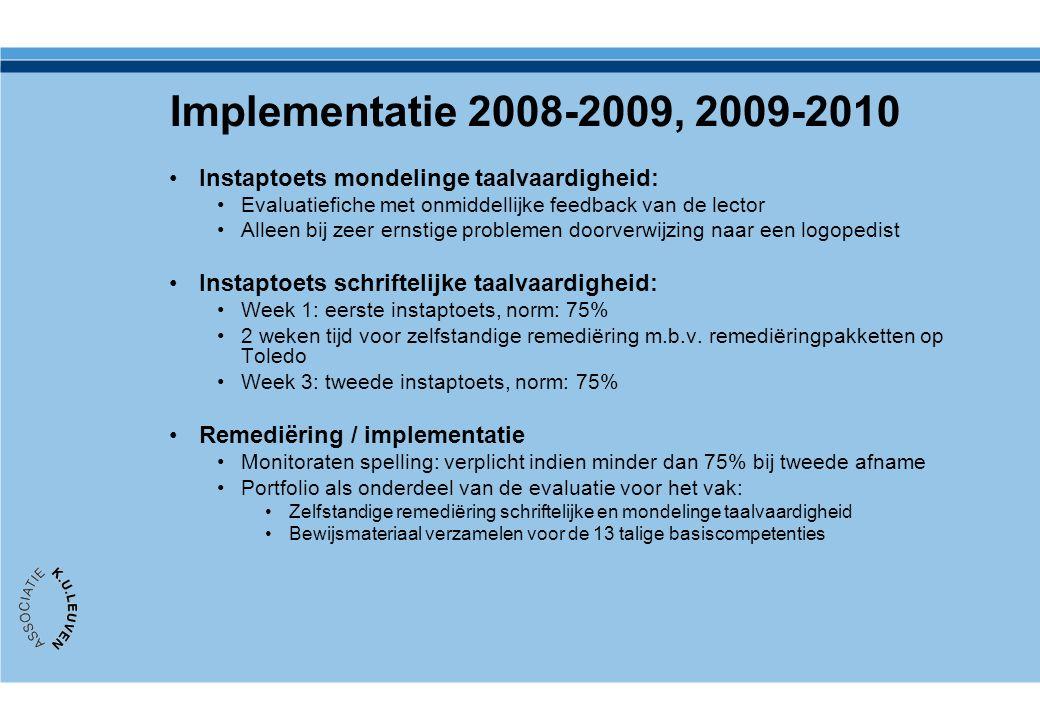 Implementatie 2008-2009, 2009-2010 Instaptoets mondelinge taalvaardigheid: Evaluatiefiche met onmiddellijke feedback van de lector.