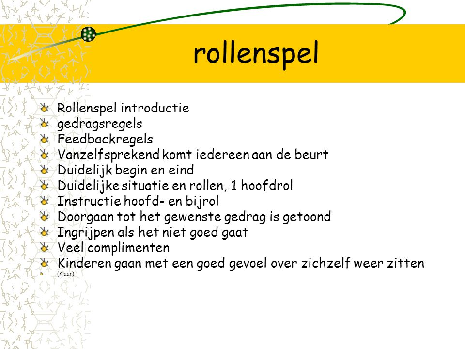 rollenspel Rollenspel introductie gedragsregels Feedbackregels