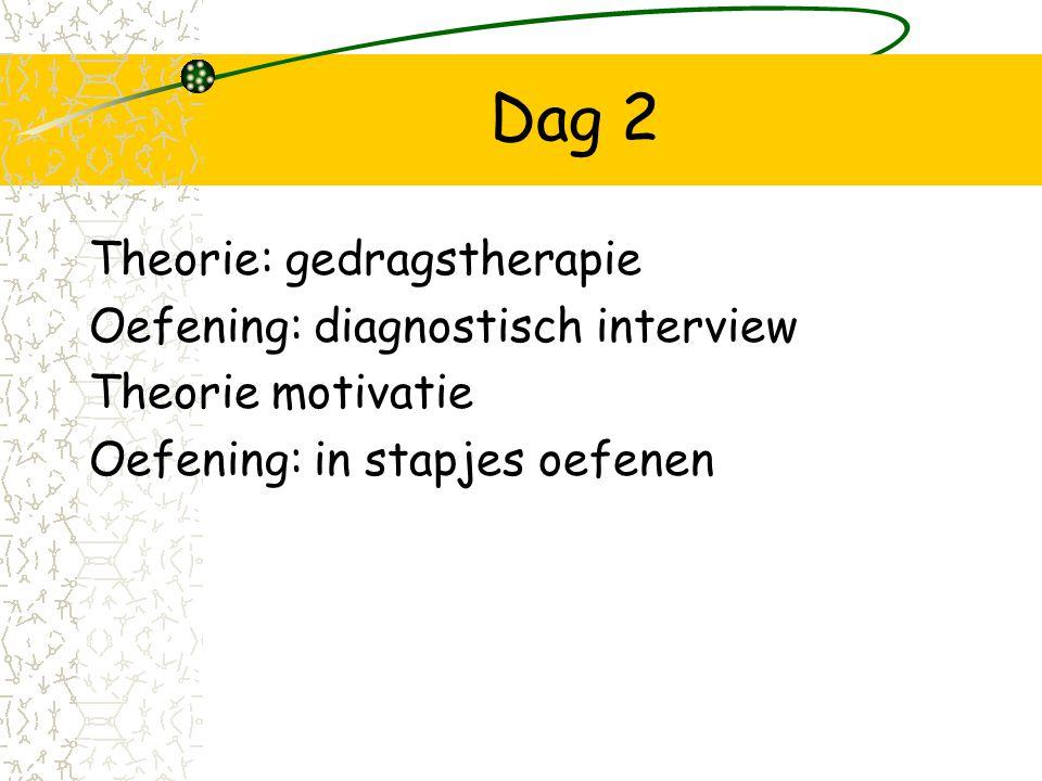 Dag 2 Theorie: gedragstherapie Oefening: diagnostisch interview Theorie motivatie Oefening: in stapjes oefenen